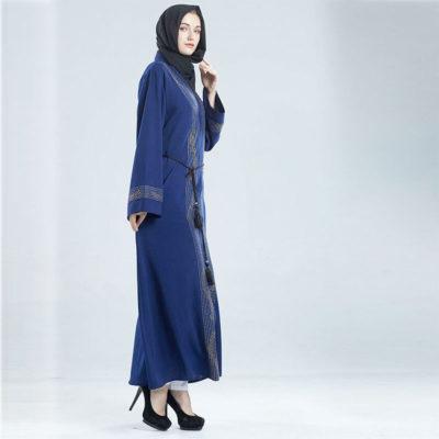 Abaya Dubai Cardigan bleu Muslim Mine