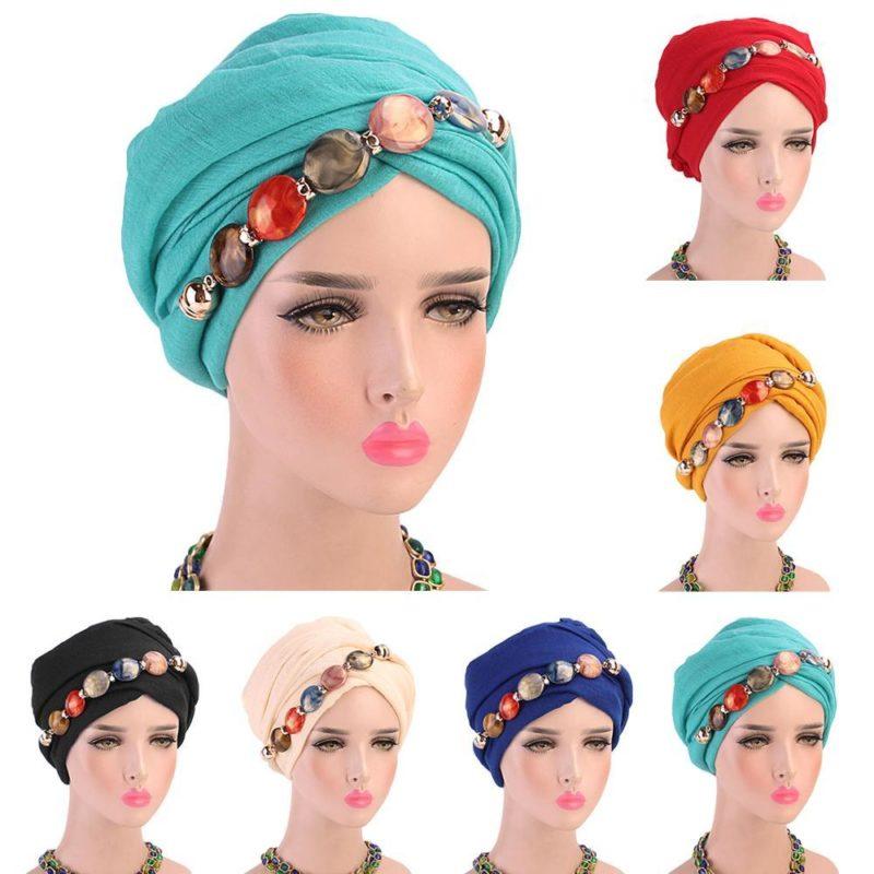 modèles turban hijab collier tete muslim mine