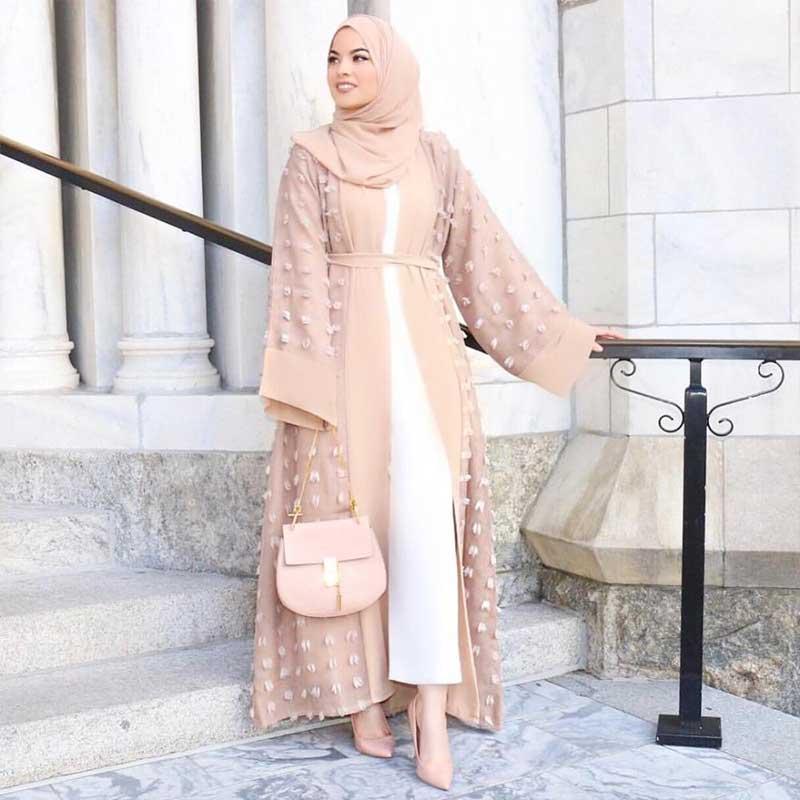 abaya femme moderne beige muslim mine