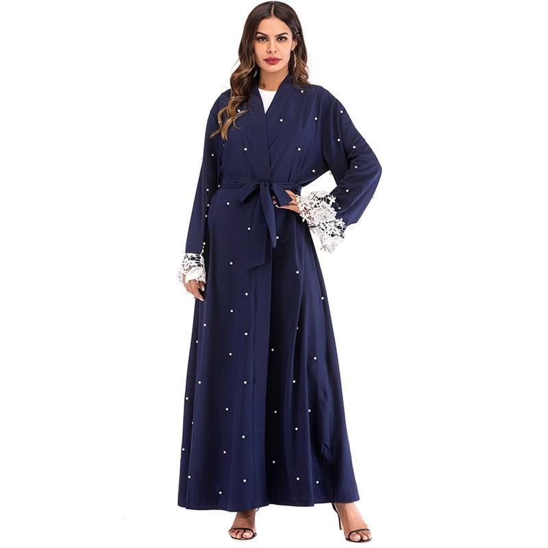 Abaya Kimono Brodé Perlé Muslim Mine