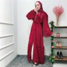 Abaya Kimono Frange Rouge Muslim Mine