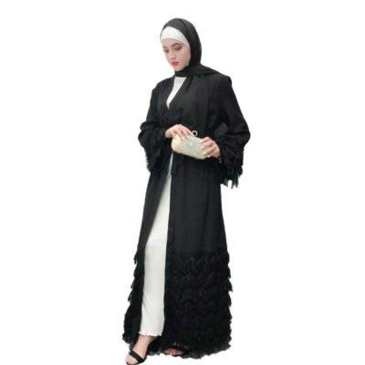 Abaya Kimono à Franges Muslim Mine