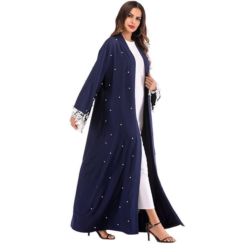 Abaya Kimono Brodé Bleu Muslim Mine