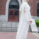 abaya moderne blanche muslim mine
