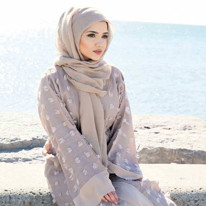 abaya moderne gris muslim mine