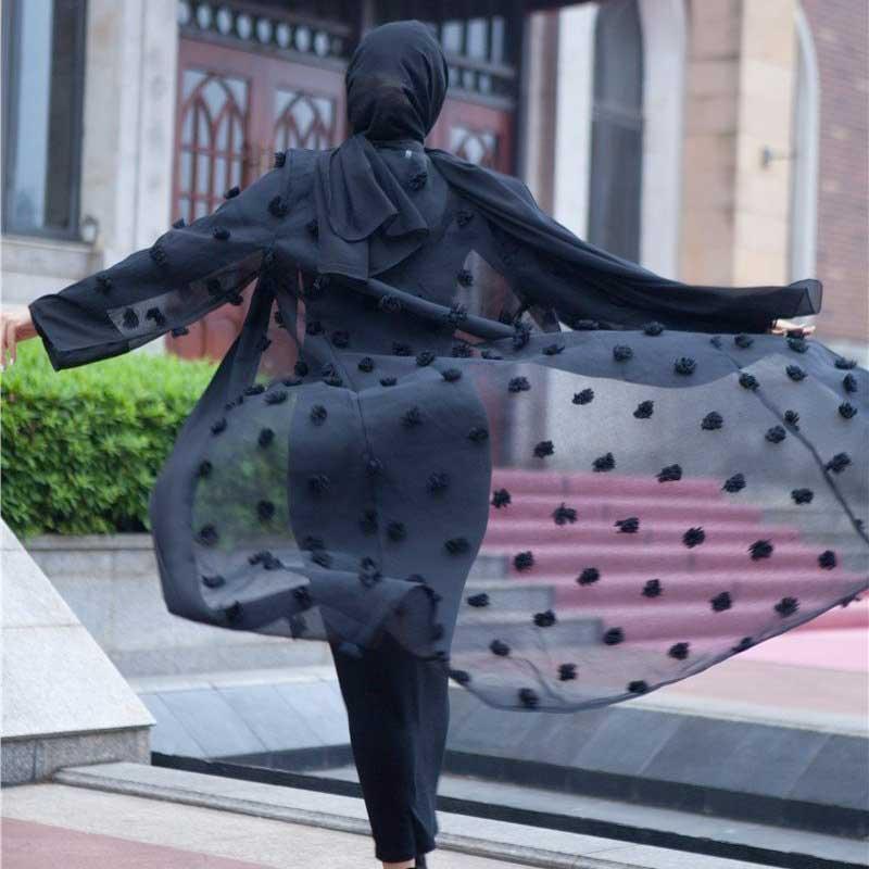 abaya moderne noire muslim mine