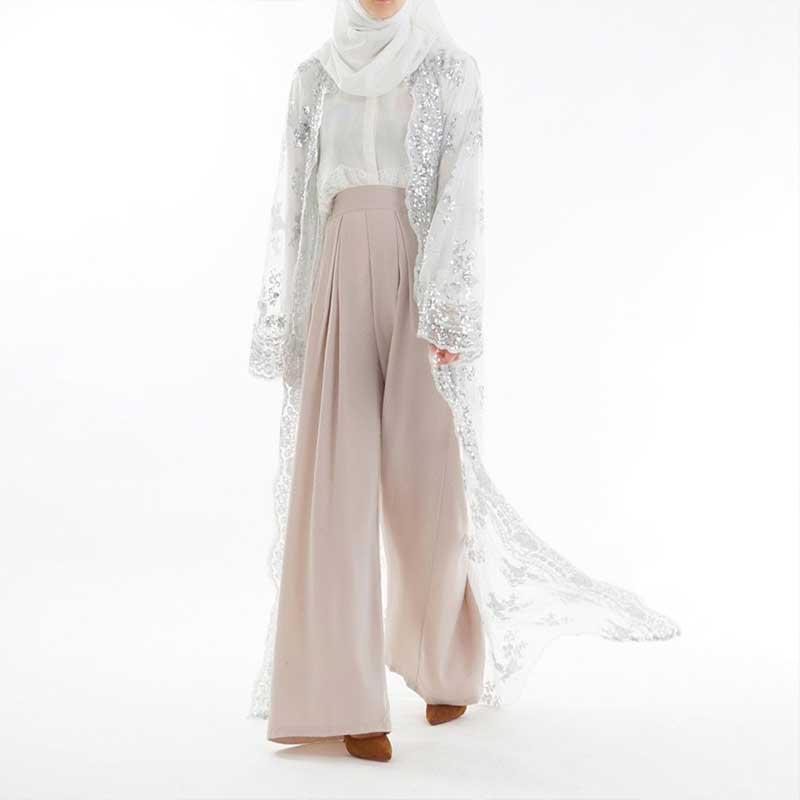 Abaya sequin blanche Muslim Mine