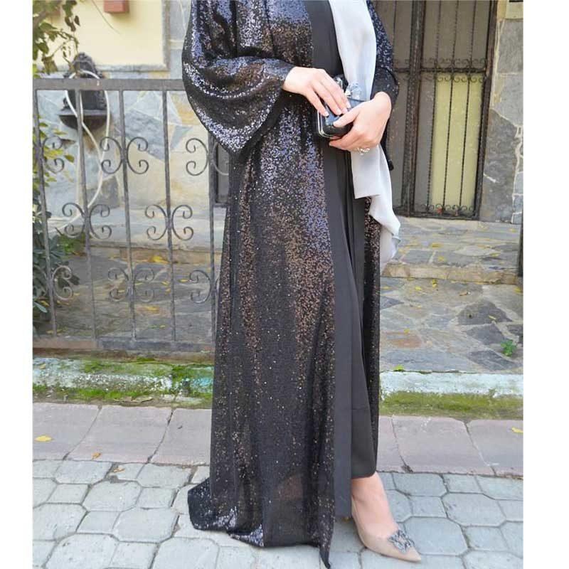 Abaya de soirée en sequin muslim mine