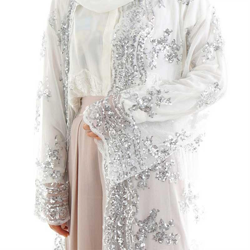 détail Abaya sequin blanche Muslim Mine