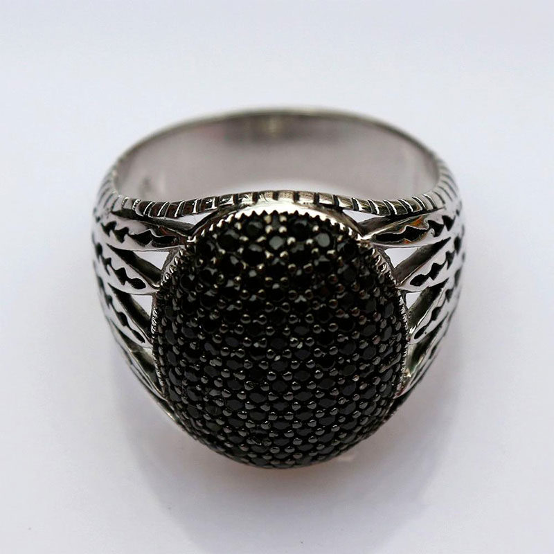 bague pierre noire zircon muslim mine