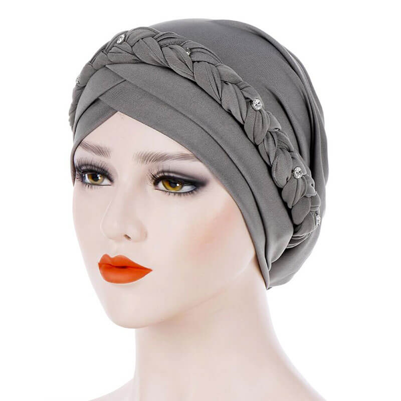 bonnet hijab croise gris muslim mine