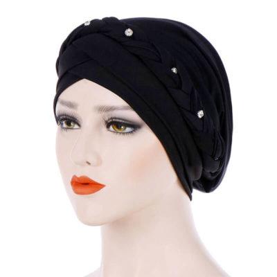 bonnet hijab croise noir muslim mine