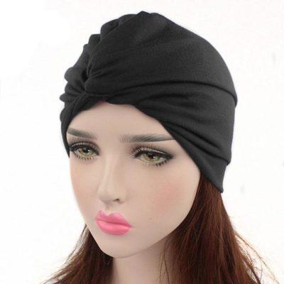 Bonnet Hijab Noeud à l'avant noir Muslim Mine