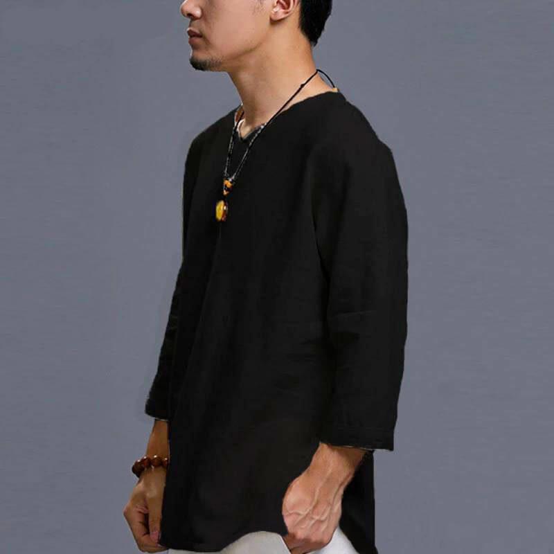 chemise asiatique noire pour homme