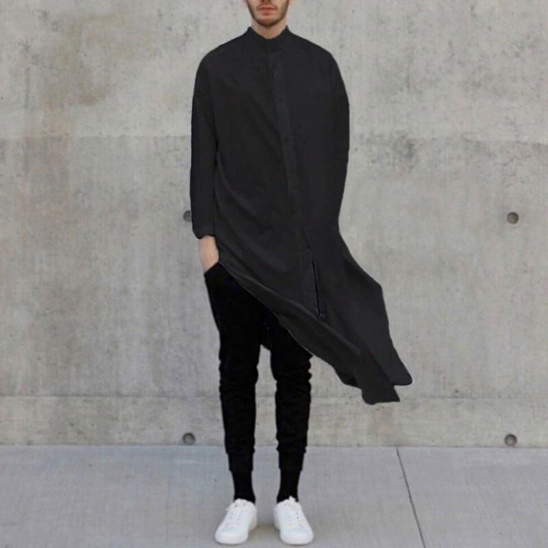 chemise Longue homme islam noir muslim mine