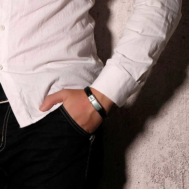 homme porte bracelet Allah cuir Muslim Mine