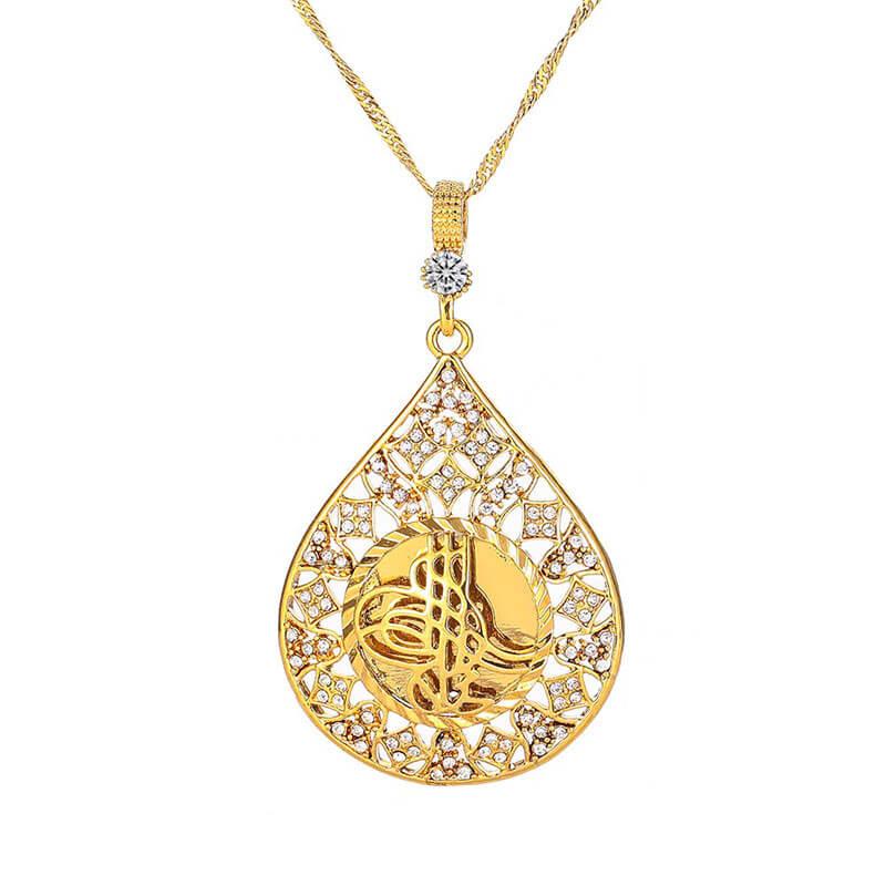 collier calligraphie arabe dore muslim mine