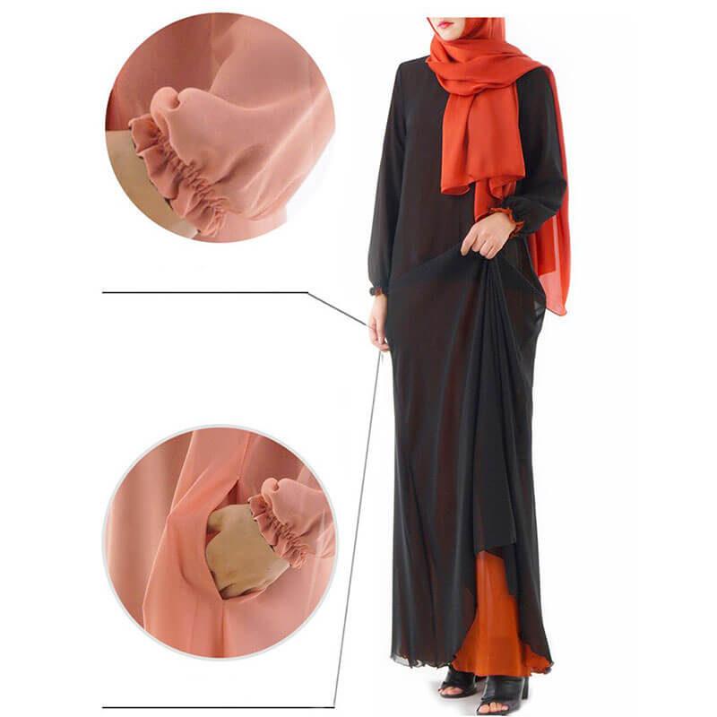 detail robe 2 en 1 muslim mine