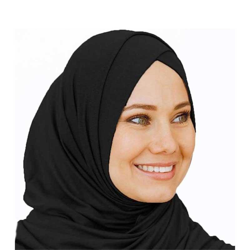 hijab à enfiler croisé noir muslim mine