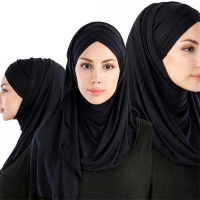 hijab croise triple noir muslim mine