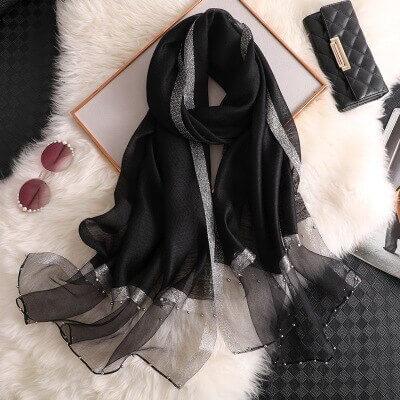 hijab fashion noir argenté muslim mine