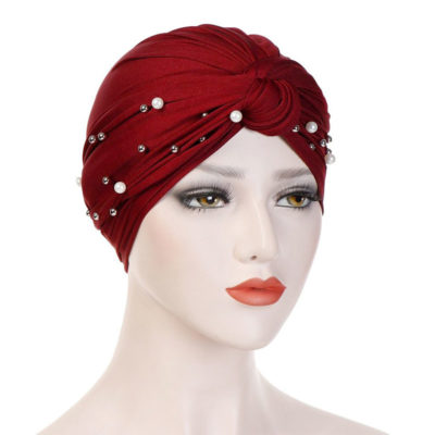 hijab turban perle bordeaux muslim mine