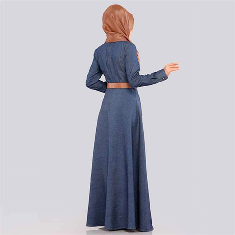 modele robe jean evase bleu nuit muslim mine