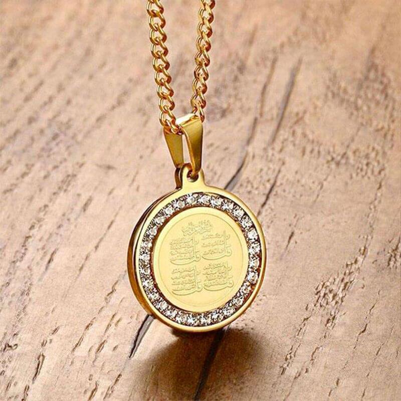 pendentif coran doré muslim mine
