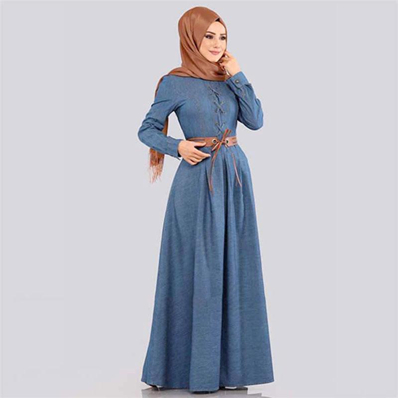 robe jean evase bleu muslim mine