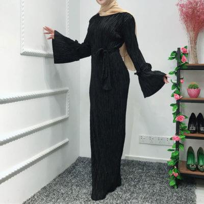 robe plisse chic noir muslim mine