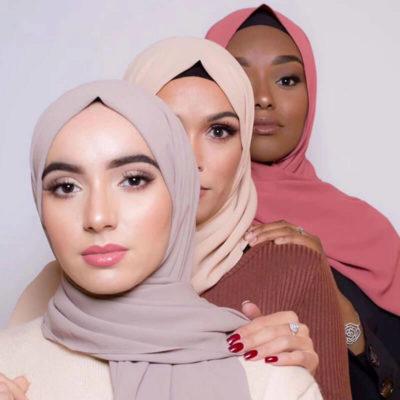 teintes visage hijab mousseline de soie muslim mine