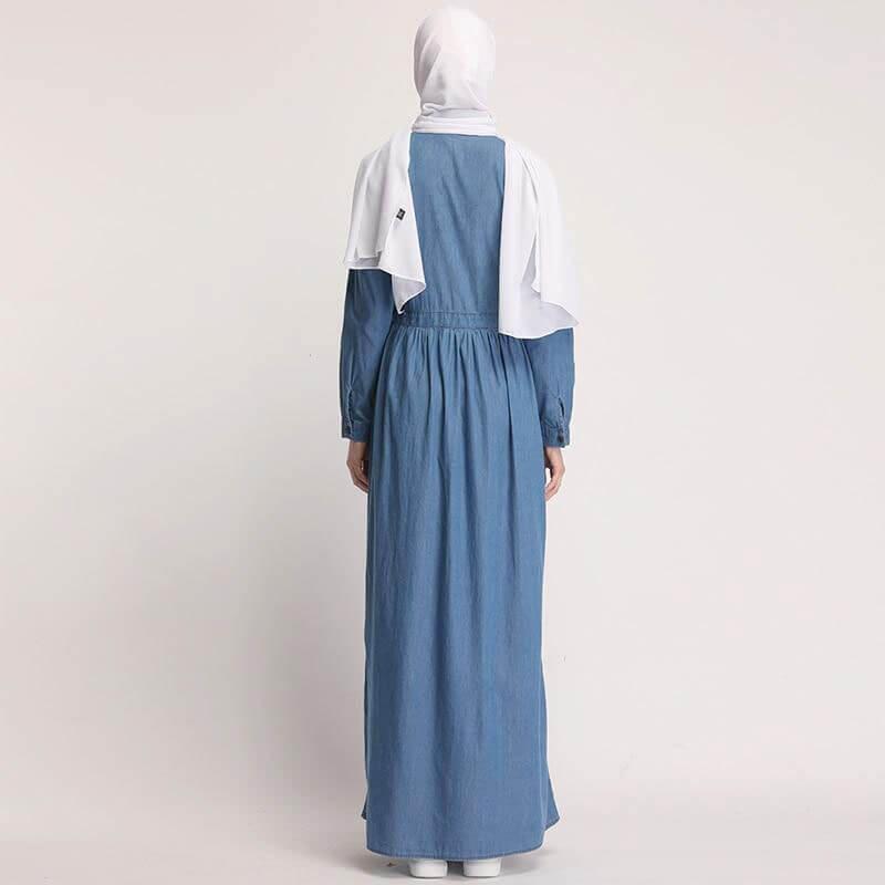 arriere robe longue en jean brodée muslim mine