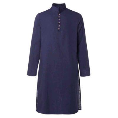 chemise homme longue kurta bleu muslim mine