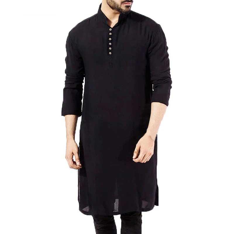 chemise homme longue kurta noir muslim mine
