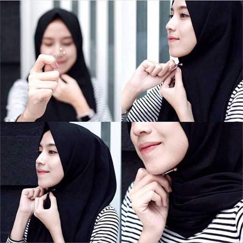 femme attache son hijab muslim mine