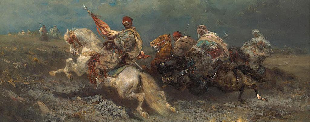 peinture assaut bedoin chevaux arabe