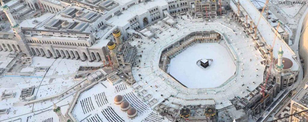 Mosquée al haram et la kaaba vide pendant la crise du Covid 2020