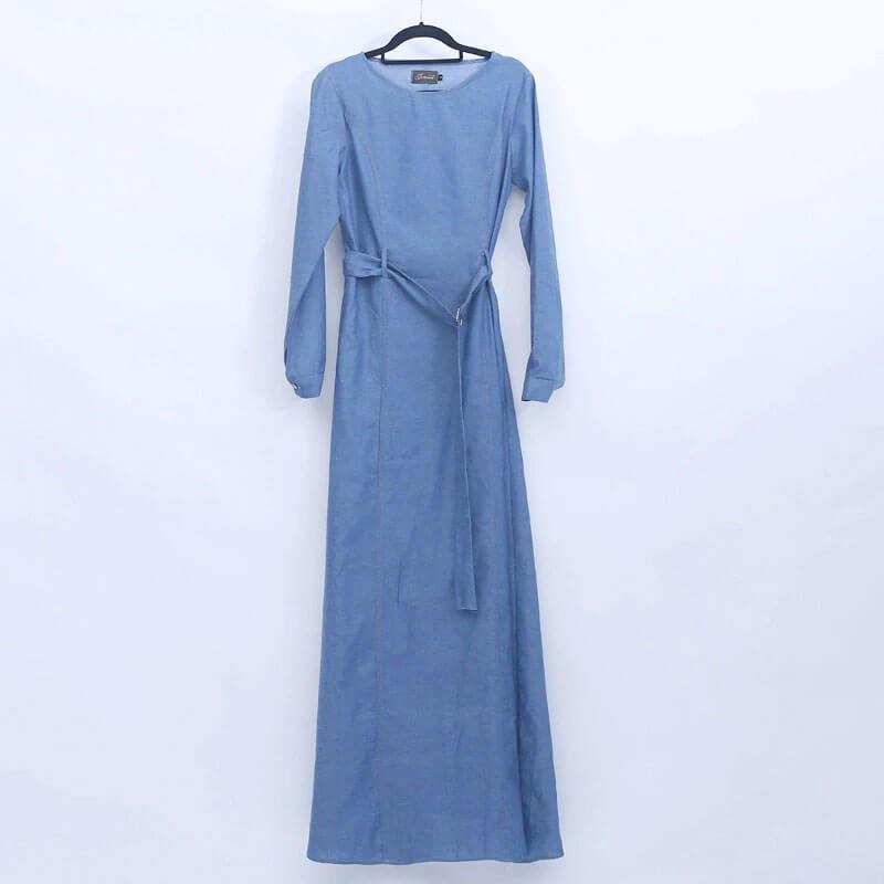 robe longue en jean cintrée muslim mine