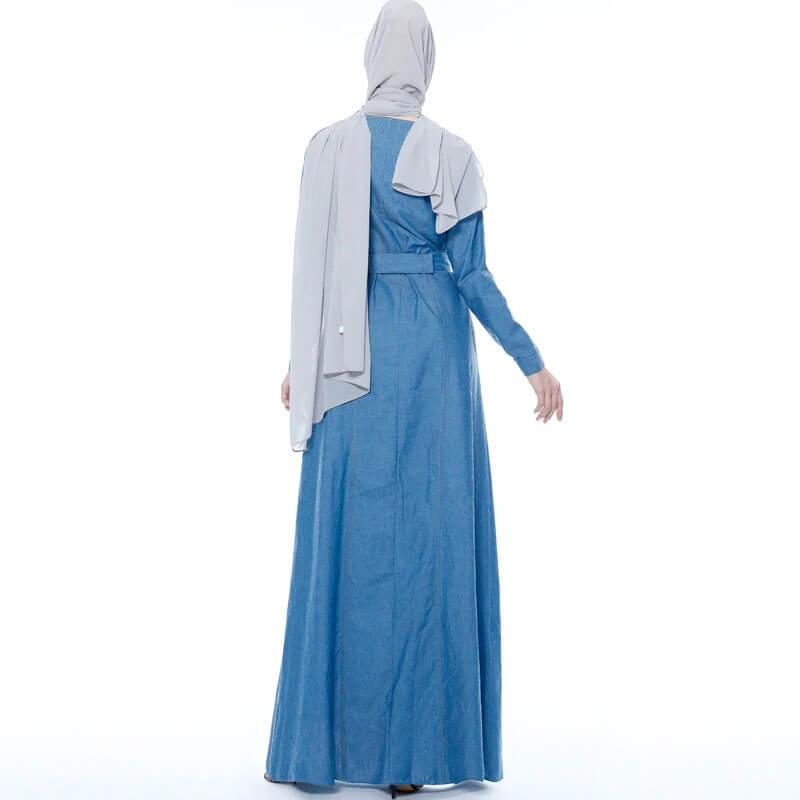 robe longue en jean de dos muslim mine
