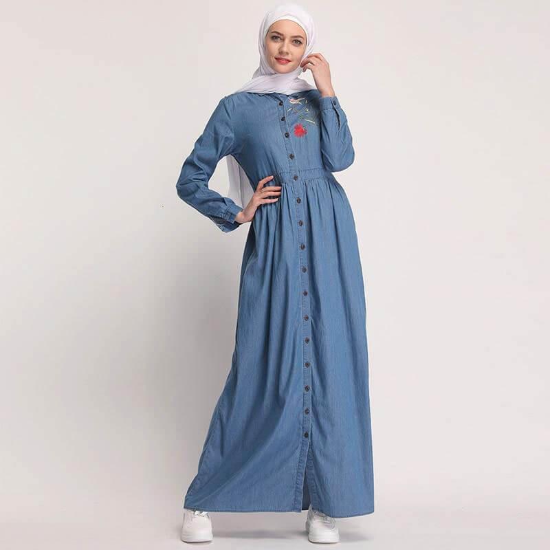 robe longue jean avec broderie muslim mine