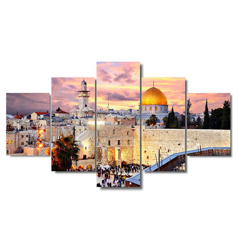 tableau jerusalem mural muslim mine