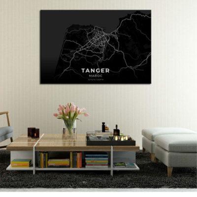 tableau mural carte tanger noir muslim mine