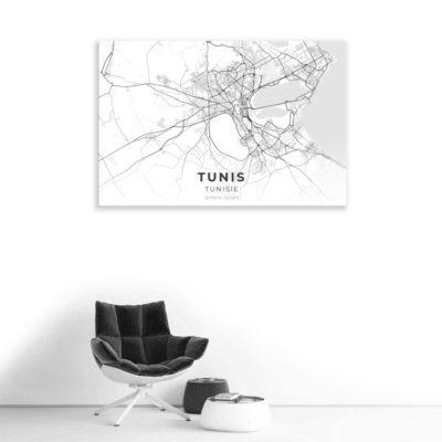 tableau plan ville tunis blanc muslim mine