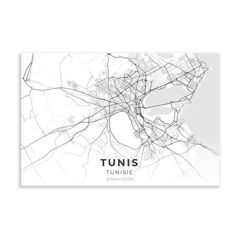 tableau plan ville tunis fond blanc