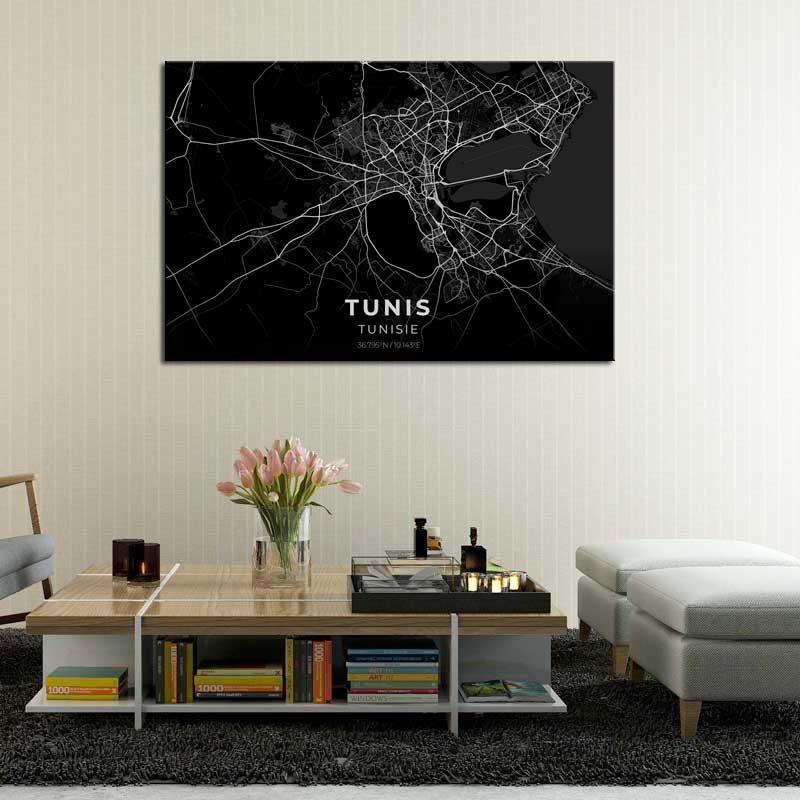 tableau plan ville tunis fond noir