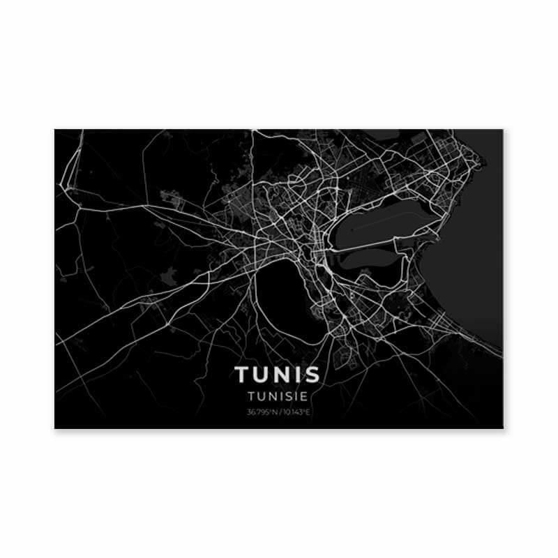 tableau plan ville tunis noir