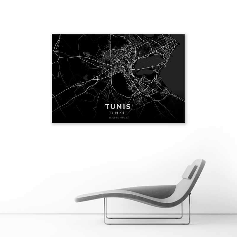 tableau plan ville tunis noir muslim mine