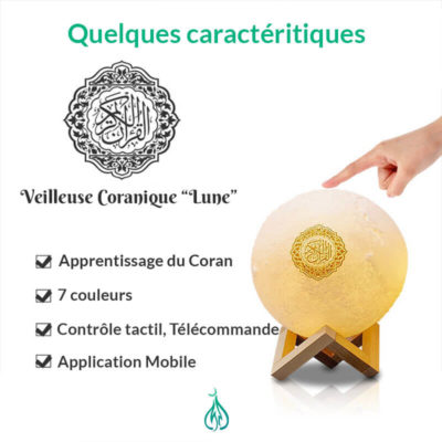 caracteristiques veilleuse coranique lune muslim mine