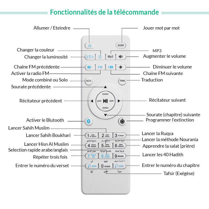 telecommande veilleuse coranique muslim mine