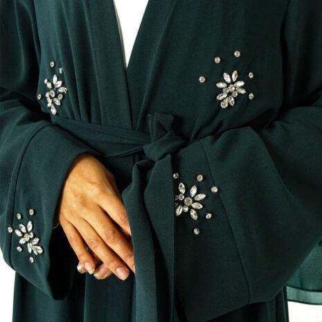 abaya cardigan diamant vert muslim mine
